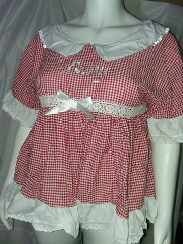 Seersucker Embroidered Baby Red & White Dress