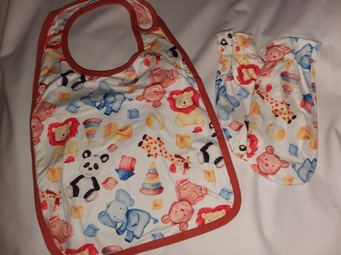 PLAY TIME Matching 2pc Bib Mittens Set