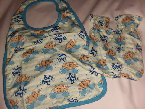 BABY BOY Matching 2pc Bib Mittens Set