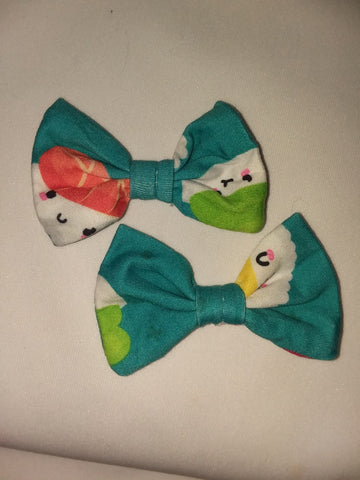 LIL SUSHI BABY Matching Boutique Fabric Hair Bow 2pc Set FHB182