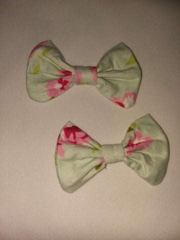 A TOUCH OF SPRING Matching Boutique Fabric Hair Bow 2pc Set FHB173