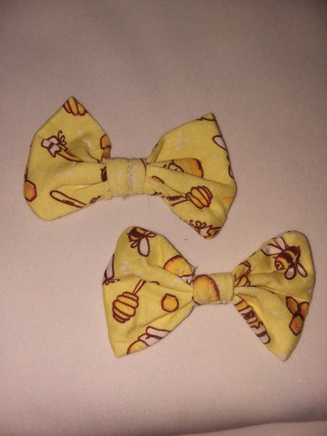 SWEET LIL BEE Matching Boutique Fabric Hair Bow 2pc Set FHB189 Clearance