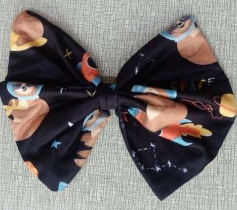 "Sloths in Space MATCHING Boutique Fabric 6"" Hair Bow"