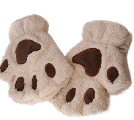 Fingerless Plush Fluffy Mittens Bear Claw Cat Animal Paw PETPLAY Tan