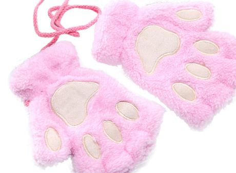 Fingerless Plush Fluffy Mittens Bear Claw Cat Animal Paw PETPLAY Light Pink