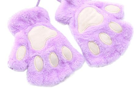 Fingerless Plush Fluffy Mittens Bear Claw Cat Animal Paw PETPLAY Purple