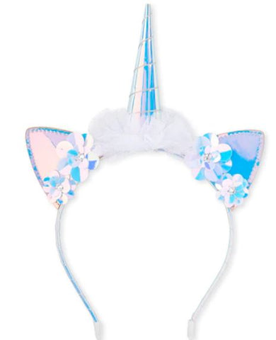Holographic Paillette Flower Unicorn Headband Boutique Head Band