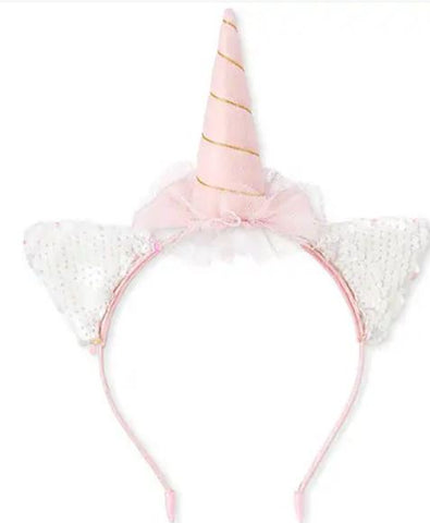 Flip Sequin Unicorn Cat Ears Headband Boutique Head Band