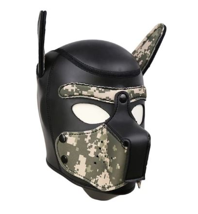 Dog Cosplay Hood Puppy Pet Role Play Mask  Army Green