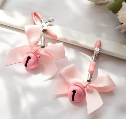 Clamps Fetish Stainless Steel Adjustable Metal Chain Breast Nipple Clamps Clips Bells Pink