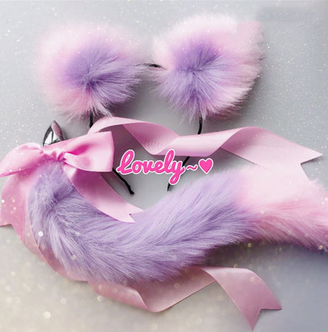 Cute Soft Cat Ears & Tail Stainless Steel Butt Anal Plug Set purple pink
