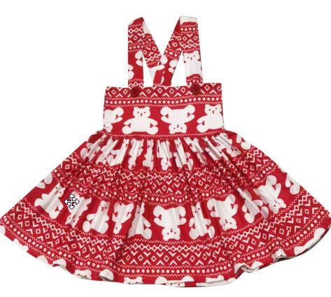 DISCONTINUED Suspender Red & White Bear Jumper Skirt Dress Clearance