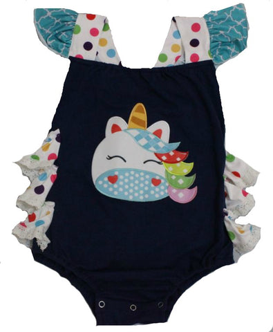 Polka-dot Unicorn Ruffle Romper * Look at Picture for measurements