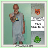 Romper DISCONTINUED Seersucker Adult Romper Green/Blue Octopus Shortalls Clearance