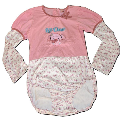 Lil One Elephants Long Sleeve Onesie