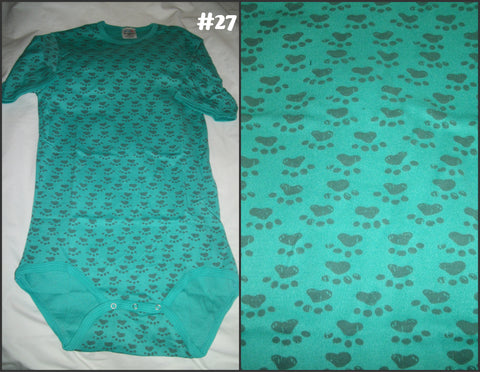 Discontinued Green Paw Print Onesie #27 Clearance