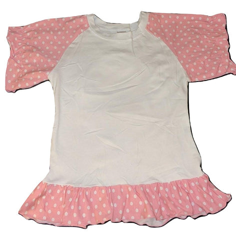 Lil Baby Doll Pink & White Dots Puffy Short Sleeve Round Neck T-Shirt
