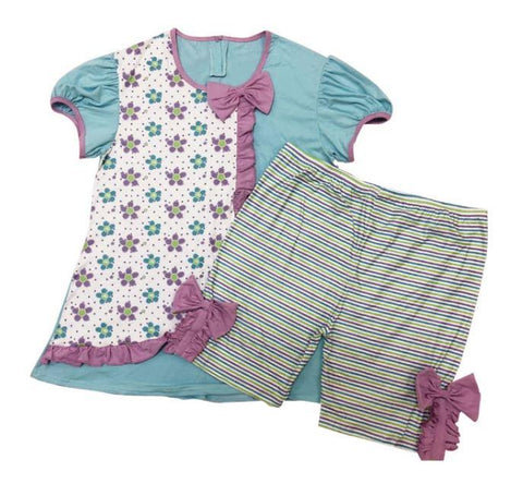 DISCONTINUED Summer Time  2pc Short Sleeve Shirt & Matching Shorts Outfits Clearance