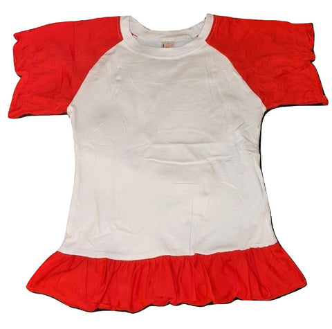 Lil Baby Doll Red & White Puffy Short Sleeve Round Neck T-Shirt