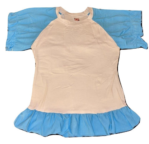 Lil Baby Doll Blue & White Puffy Short Sleeve Round Neck T-Shirt