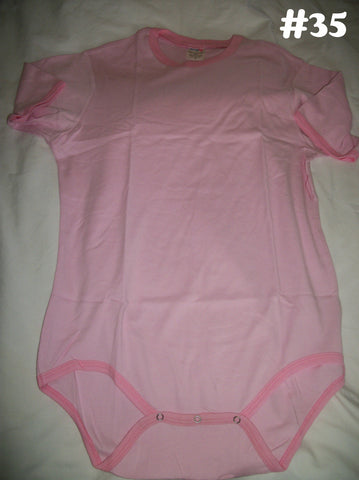 Pink with Dark Trim Solid Color Onesie #35