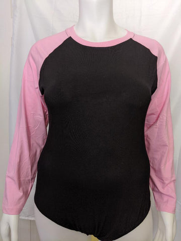 Long Sleeve Black & Pink Baseball Raglan Onesie
