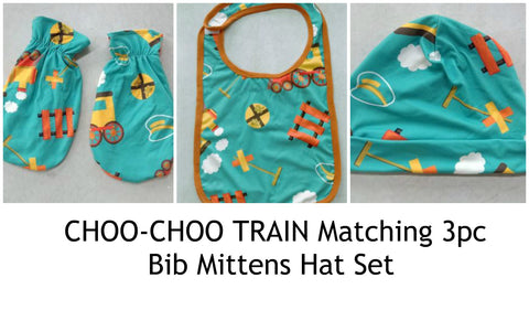CHOO-CHOO TRAIN Matching 3pc Bib Mittens Hat Set