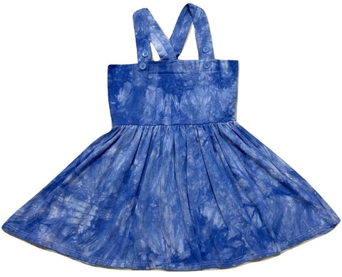 Suspender Tye Dye Blue Jumper Skirt Dress