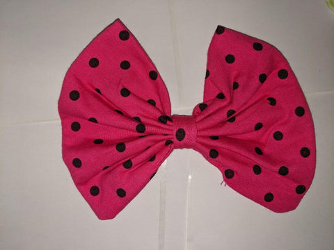 Hot Pink Dots Matching Boutique Fabric Hair Bow Clearance