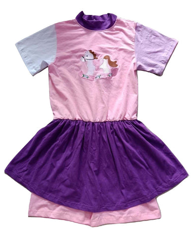 Retro Rocking Horse Romper Jumper Shorts Skirt