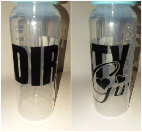 Dirty Girl Boy 9oz Baby Bottle with ADULT Teat BB226