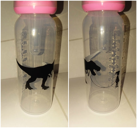Dinosaur & Girl 9oz Baby Bottle with ADULT Teat BB316