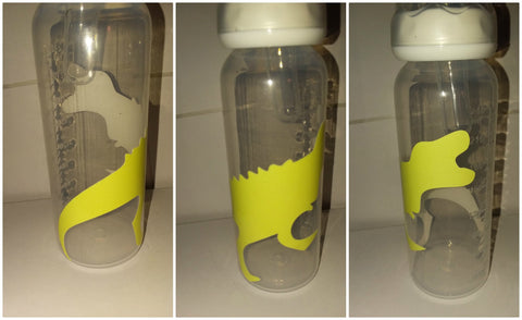GLOWS IN THE DARK Dinosaur 9oz Baby Bottle with ADULT Teat BB407