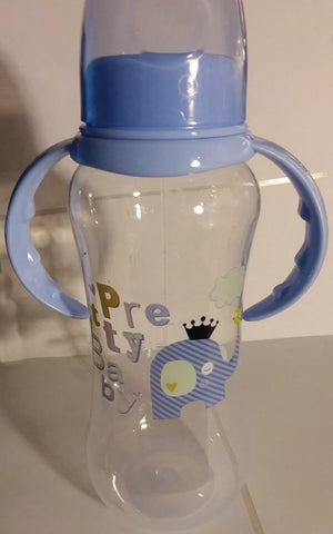 "Elephant ""Pretty Baby' Bottle with removable handles and silicone teat BB476"