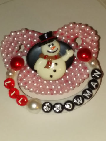 Holiday Christmas Lil Snow Man Deluxe Custom Pacifier DCP427