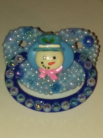 Holiday Christmas Snow Man Deluxe Custom Pacifier DCP429