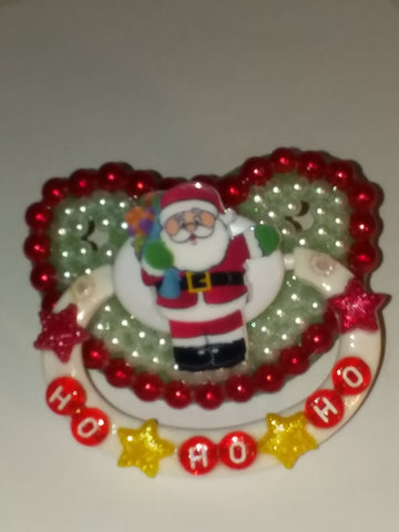 Holiday Christmas Santa Ho Ho Ho Deluxe Custom Pacifier DCP436