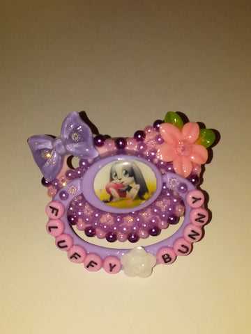 Fluffy Bunny DELUXE CUSTOM PACIFIER DCP560