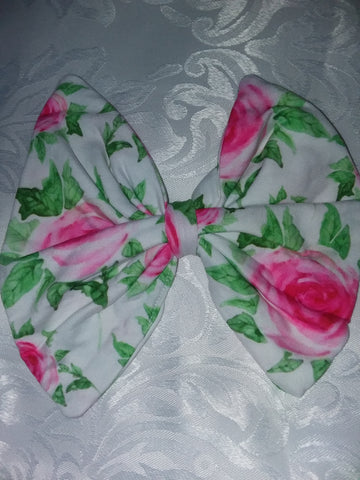 DISCONTINUED Floral Matching Boutique Fabric Hair Bow Clearance