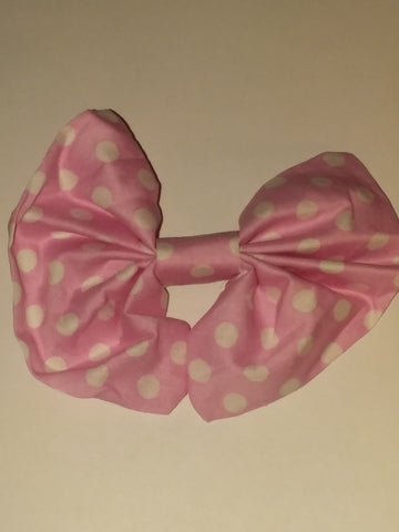 Pink & White Polka-dot BabyDoll Matching Boutique Fabric Hair Bow FHB128