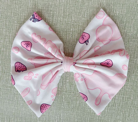 DISCONTINUED BUBBLE GUM MATCHING Boutique Fabric Hair Bow FHB137