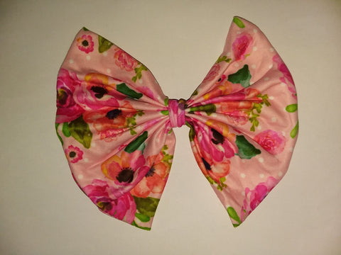 DISCONTINUED Flowers Matching Boutique Fabric Hair Bow Clearance