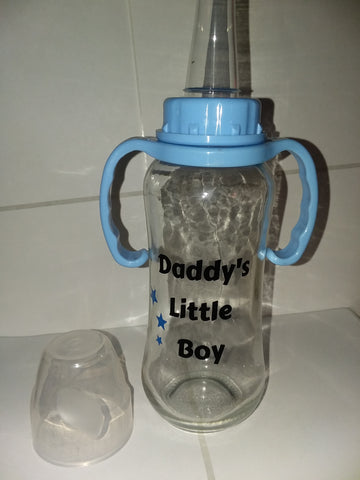 Daddy's Little Boy 9.4 oz Glass Baby Bottle with ADULT Teat GBB114