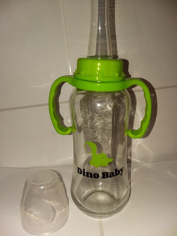 Dino Baby 9.4 oz Glass Baby Bottle with ADULT Teat GBB115