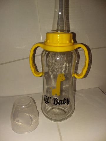 DISCONTINUED Lil Baby Giraffe 9.4 oz Glass Baby Bottle with ADULT Teat GBB116