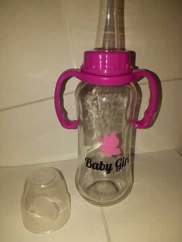 DISCONTINUED Baby Girl Butterfly 9.4 oz Glass Baby Bottle with ADULT Teat GBB117