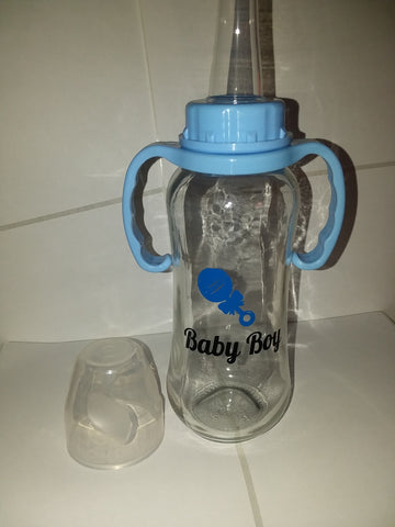 DISCONTINUED Baby Boy 9.4 oz Glass Baby Bottle with ADULT Teat GBB119