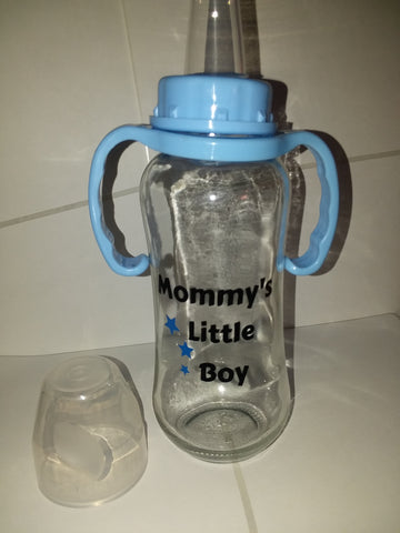 DISCONTINUED Mommy's Little Boy 9.4 oz Glass Baby Bottle with ADULT Teat GBB120