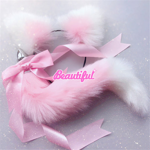 Cute Soft Cat Ears & Tail Stainless Steel Butt Anal Plug Set Pink White