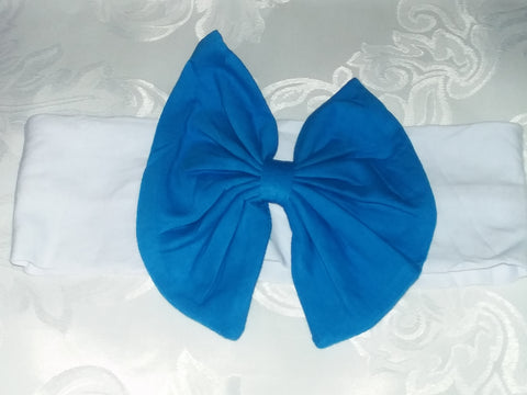 Lil' Blue & White Matching Boutique Fabric Hairband Bow HB115